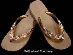 af724f2126c7 Image is loading Havaianas-flip-flops-sandals-beige-w-Swarovski-Crystals-