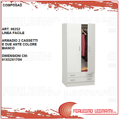 Learned Armadio 2 Ante E 2 Cassetti 81x52x170 Guardaroba Mobile Bianco Cabina 96252 Extremely Efficient In Preserving Heat Home & Garden