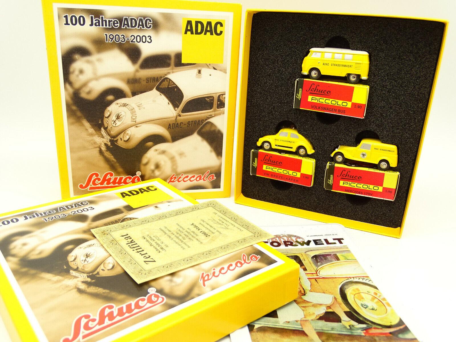 Schuco 1 90 Piccolo-Boxset ADAC-Vw Combi-Coccinelle-Mercedes 170V