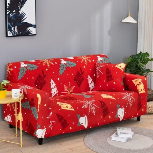1 2 3 4 Seater Xmas Sofa Cover Couch Stretch Elastic Wrap Slipcover Home Decor