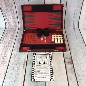 Vintage-Backgammon-Set-Faux-Leather-Hard-Case-Red-Complete-RARE