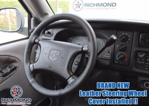 1998-2002 Dodge Ram 1500 2500 3500 Leather Wrap Steering Wheel Cover Black