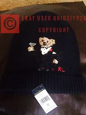Polo Bear by Ralph Lauren Martini Bear Embroidered Cuffed Beanie Hat Rare