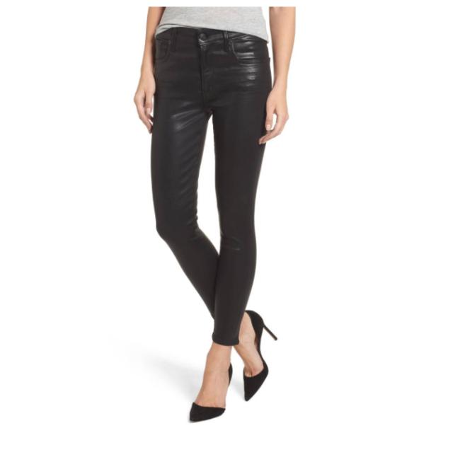 45af3c3260689 A Gold E Sophie Women s Black Coated High Waist Crop Skinny Jeans Sz 31 2320