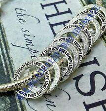 10 Silver Dream Love Hope Trust Word Rings European Spacer Beads Charms Pendants