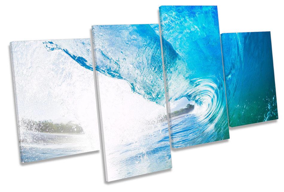 Crashing Blau Beach Wave CANVAS WALL ART MULTI  Box Framed