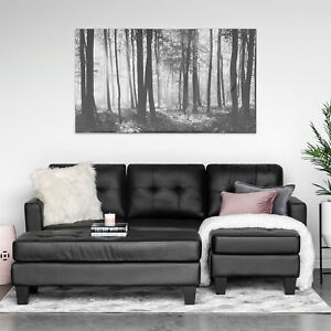 Astounding Details About Leather Small Space Black Sectional Sofa Couch Set 3 Seater W Chaise Ottoman Beatyapartments Chair Design Images Beatyapartmentscom
