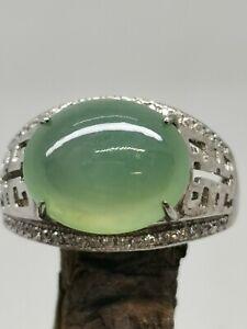 Translucent Icy Light Green Burmese Jadeite Jade Ring/高冰淡绿天然缅甸翡翠戒指/ナチュラルビルマ翡翠リング