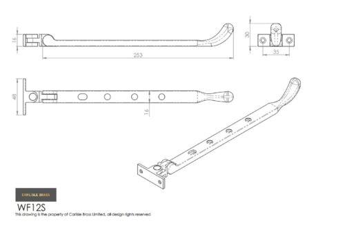 Carlisle brass-WF12-ampoule fin casement stay