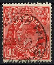 Australia 1926-30 SG#96, 1.5d Scarlet KGV Used P13.5x12.5 #D48618