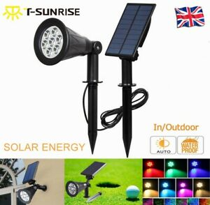 Pared-Led-Solar-Spot-Luz-Lampara-De-Ruta-Interior-Al-Aire-Libre-Jardin-Patio-Impermeable-UK-NUEVO