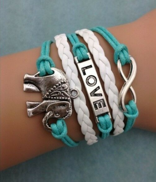 NEW Infinity  Love Elephants Leather Charm Bracelet plated Silver DIY !!!!
