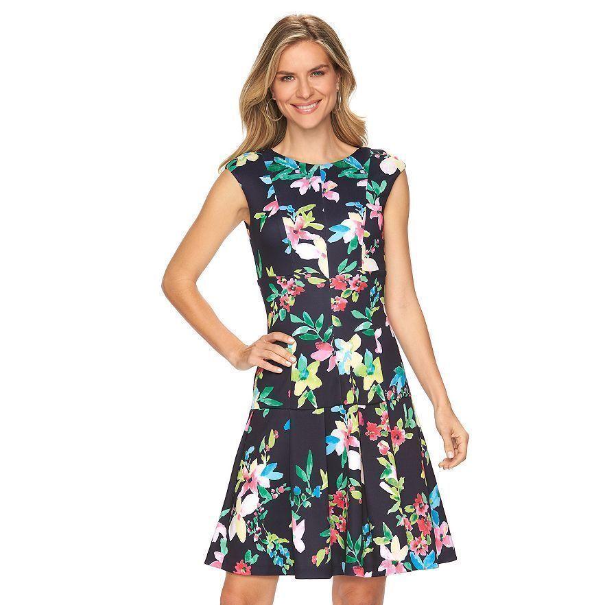 New Chaps Women Floral Scuba Drop Waist Dress Navy Size 16