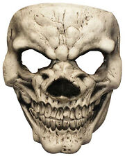 WHITE SKULL MASK LATEX RUBBER HORROR SCARY FANCY DRESS HALLOWEEN FACE MASQUE NEW