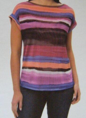Ladies ADRIENNE VITTADINI Rolled Cuff Casual Black Grey Stripe Tee Vest Top M