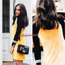ZARA NEW YELLOW ORANGE VELVET SHORT DRESS SIZE S UK 8