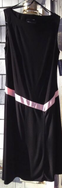 Connected Apparel Black Pink Women's Size 12P Dress stretch NWT