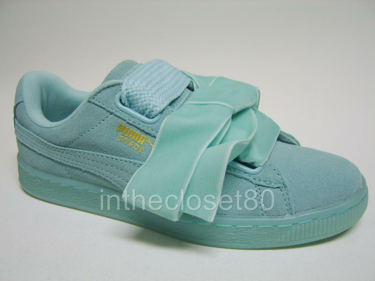 Puma Basket Heart Suede Leather Aruba Blau Turquoise damen Trainers 363229 01