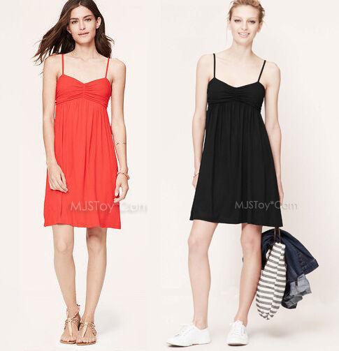 NWT Ann Taylor LOFT RUCHED CAMI Stylish Casual Comfy Perfect Soft Summer Dress