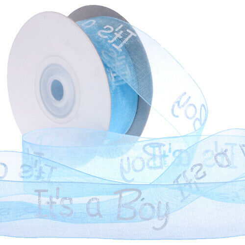 ORGANZA BABY PINK AND BABY BLUE RIBBON 99P A METRE! IT/'S A GIRL IT/'S A BOY