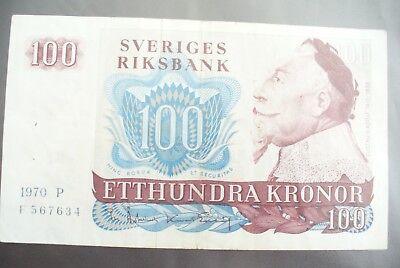 Ancien Billet - 100 Kronor SuÈde 1970 - Etat Ttb+ !!!
