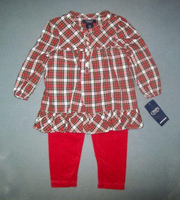 Carter/'s Baby Girl Red Plaid Metallic Top /& Black Legging 2pc Set NWT $24