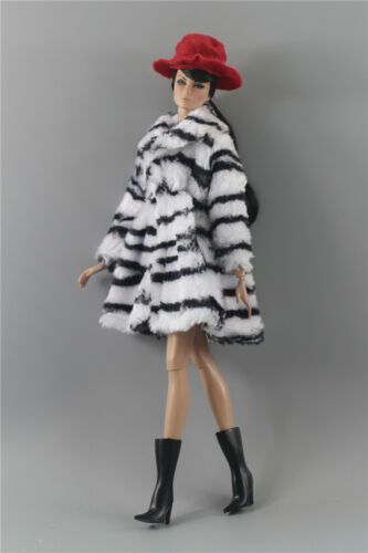 3in1 Fashion Zebra print Winter fur Coats Outfit+boot+Hat For 11.5in.Doll