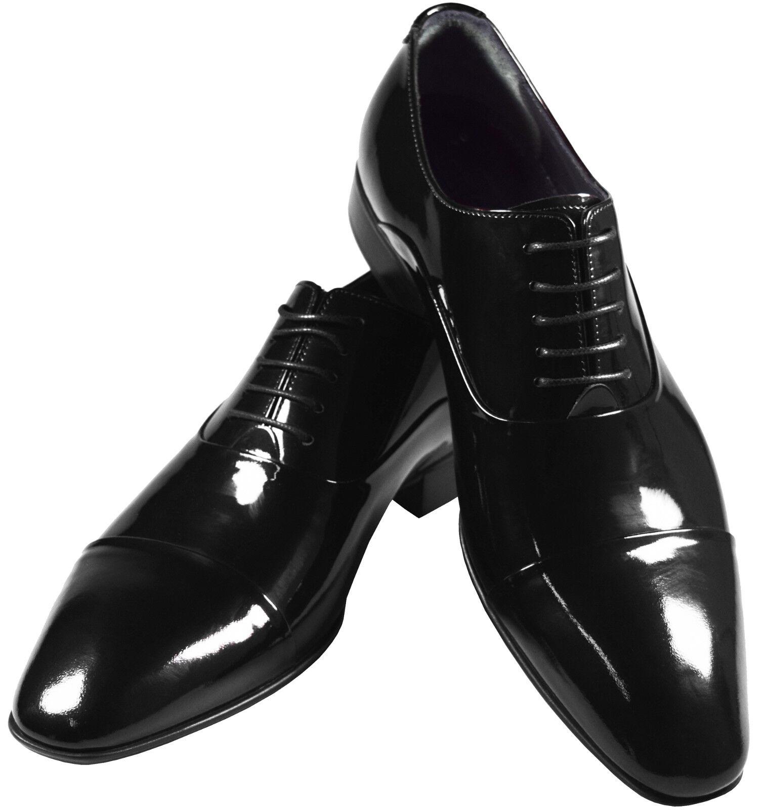 Pablo Cassini uomo tuxedo scarpe Oxford Patent Leather Wedding scarpe 342-nero