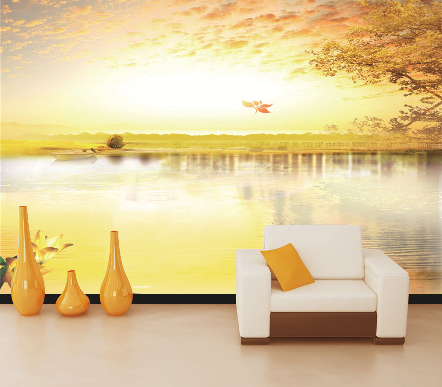 3D Gelb lake, sky 4567 Wall Paper Print Wall Decal Deco Indoor Wall Murals