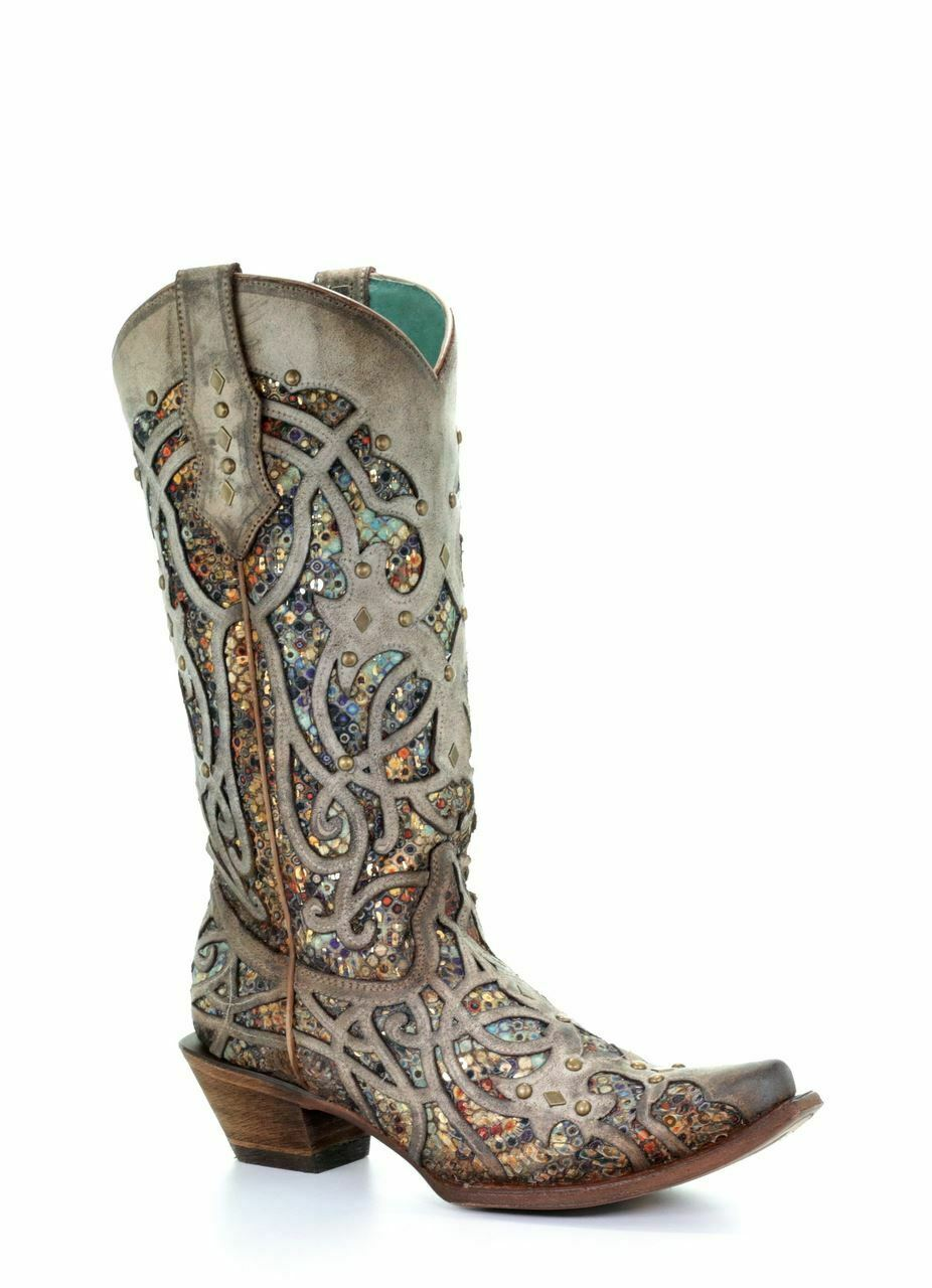 Corral Women's Western Cowgirl Tan Taupe Inlay Studs Boots C3409