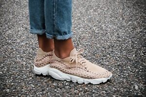 Nike-Air-Footscape-Woven-UK-Size-5-Women-039-s-Trainers-Shoes-Beige-White