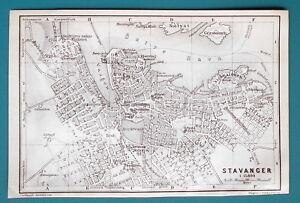 NORWAY-Stavanger-City-Plan-1912-Baedeker-Map-4-034-x-6-034-10-x-15-cm