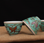 China Jingdezhen Cultural Revolution Old factory Blue Pastel Butterfly Cup