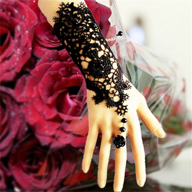 Black  Charm Wedding Pearl Women's Gothic Hand Lace Rose Bracelet Ring Jewelry