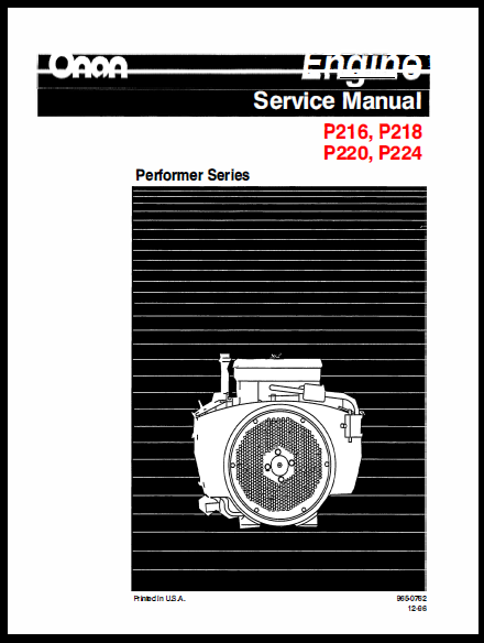 Onan P216 P218 P220 P224 G Engine Service Shop Manual