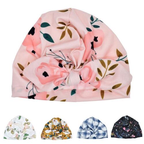 Baby Girls Casual Print Turban Bow-Knot Hats Head Wrap Cute Kids Beanie Hat Cap