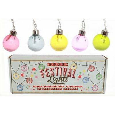 set of 10 colourful vintage retro style FESTIVAL decorative party fairy lights