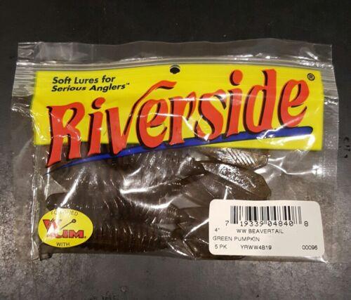 "Riverside Lures 4/"" Wooly Beavertail 5pk Green Pumpkin"