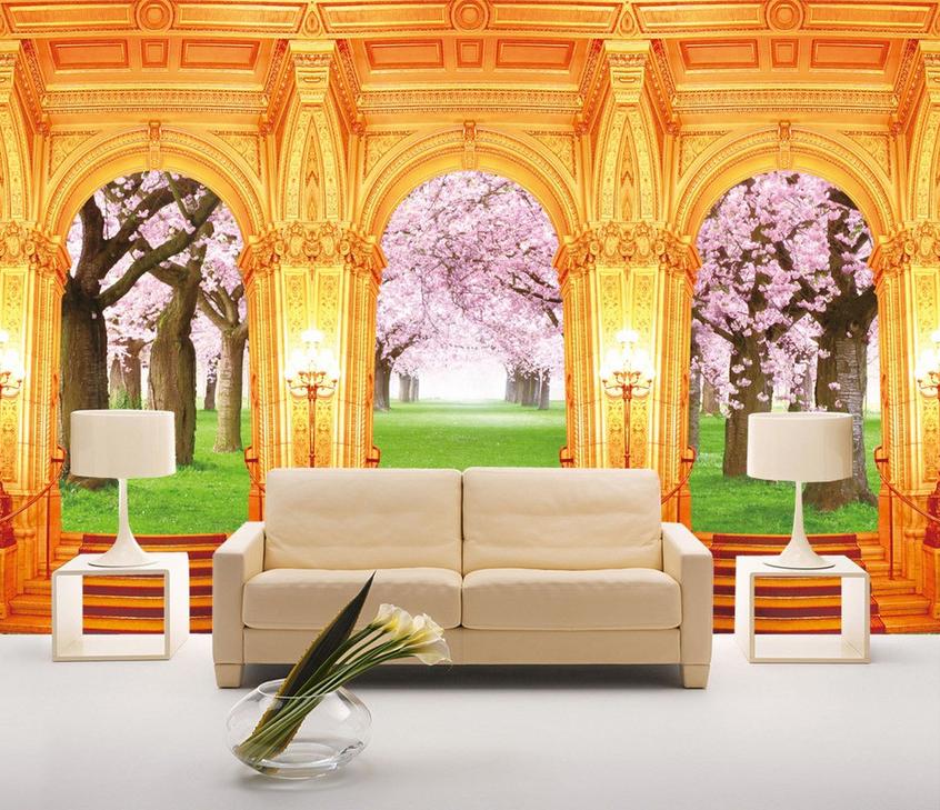 3D Grün Meadow Flowers Trees Wall Paper Wall Print Decal Wall AJ WALLPAPER CA