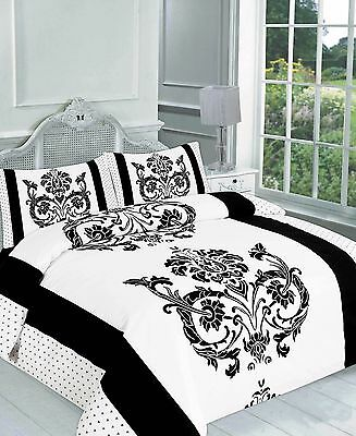 Printed Duvet Covers DARCY BLACK WHITE Spiral Quilt Bedding Set with Pillowcases