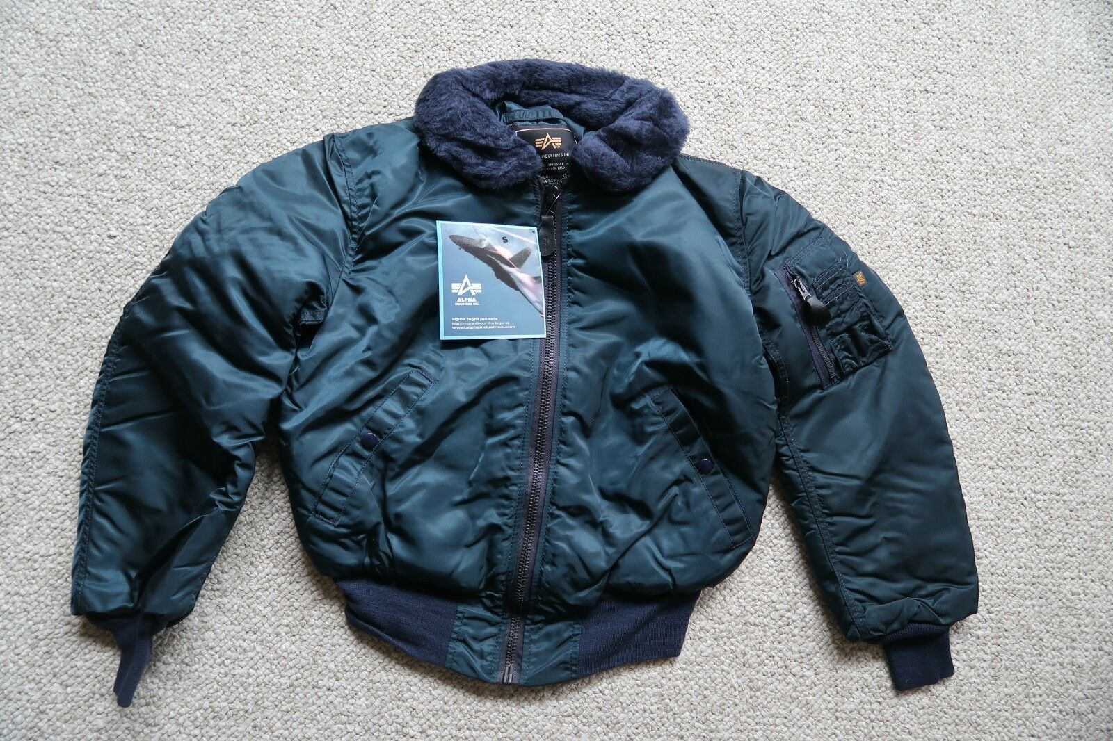 Alpha Industries USA Made B-15 Small REPLICA blueE