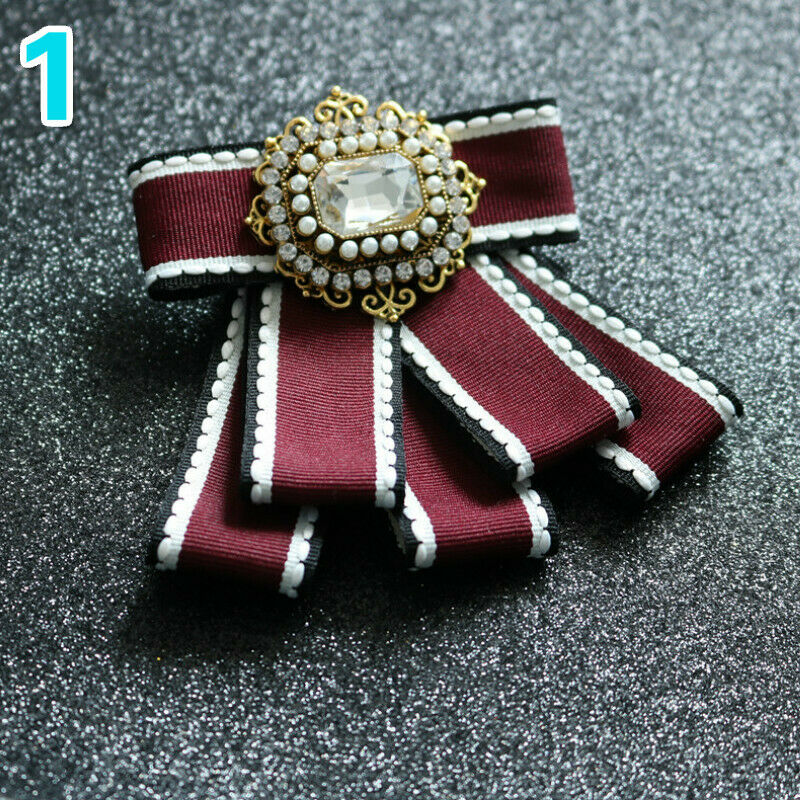 Retro Bow Tie Necktie Pre Tied Rhinestone Beads Formal Wedding Party Chic Gift