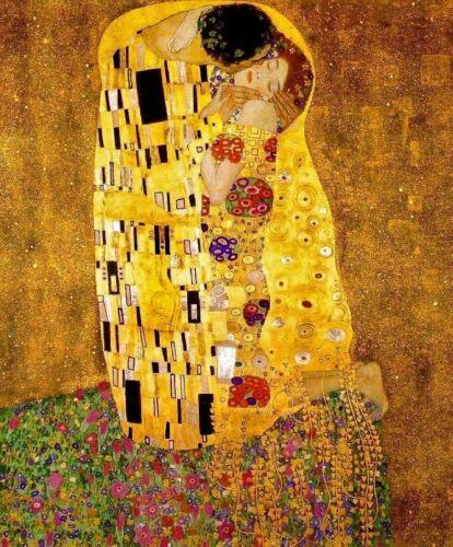The Kiss by Gustav Klimt Couple Lovers Golden Erotic Embrace 8x10 Print 0017