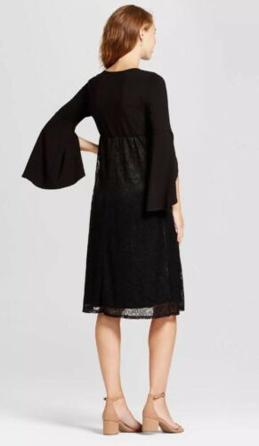 847687180645 Xl Lace Sleeve nwt donna Maternity Rose Nero Bell Fynn Dress fnPpBp