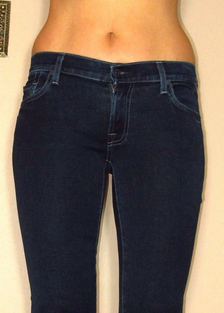 Nuovo 7 For All Mankind Donna Aderente Svasati in in in GOMMA Jeans Scuri Rich ffedf4