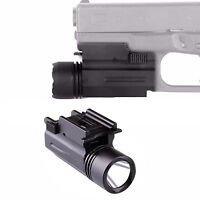 Tactical Led Flashlight W/strobe Fit Weaver /picatinny Fr Glock17 19 20 23 22 21