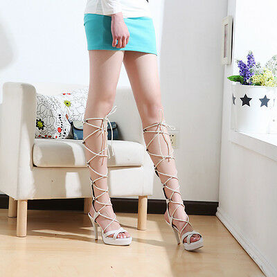 Womens Strappy cross Gladiator High Heels Pointed Toe Lace ups Sandals 4 colours