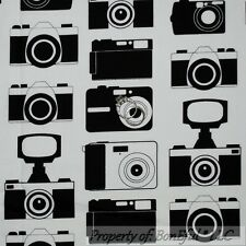 BonEful Fabric FQ Cotton Quilt B&W Antique VTG L Photography SLR Camera Dot Lens