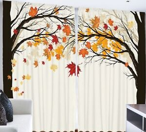 Fall CURTAIN PANEL SET Autumn Leaves Foliage Tree Living Bed Room - Autumn colours for the curtains