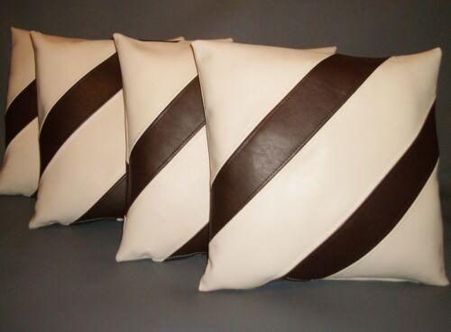 """4 crème /& marron à rayures en cuir synthétique housses de coussin 16/"""" 18/"""" Diffusion Oreillers"""